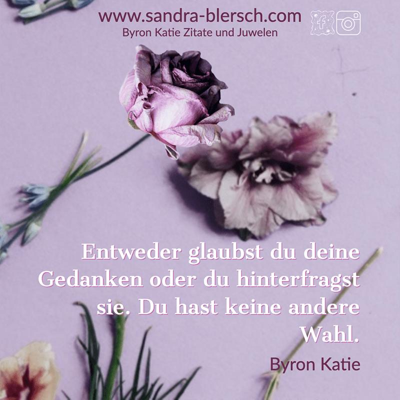 Byron Katie Zitat: Entweder glaubst du deine Gedanken oder du hinterfragst sie. Du hast keine andere Wahl