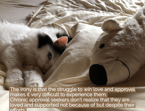 The irony is that the struggle to win love and approval makes it very difficult to experience them