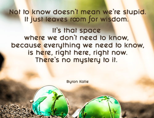 Not to know doesn't mean we're stupid. It just leaves room for wisdom